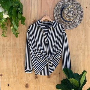 Jules & Leopold Black and White Stripe Blouse Top